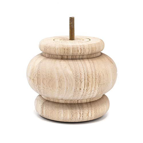 4 in. x 4-7/8 in. Unfinished Solid Hardwood Round Bun Foot