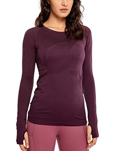 CRZ YOGA Damen Sport Shirt Yoga Shirt Langärmliges T-Shirt - Nahtlos, Laufshirt Fitness Dunkelrot 38