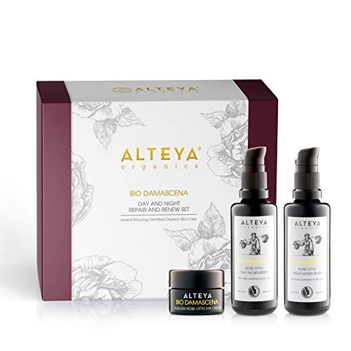 Alteya Organic Bio Damascena Luxus Geschenkset - Tag & Nacht Regenerierendes Set - Rosenöl Tagesfeuchtigkeitscreme 50ml + Rosenöl Nachtfeuchtigkeitscreme 50ml + Rosenöl...