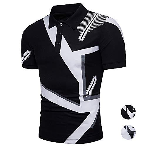 Adidase Bedrucktes Poloshirts für Herren,Lässiges Revers-Poloshirts Kurzarm-Hemd aus Baumwolle,B,XL