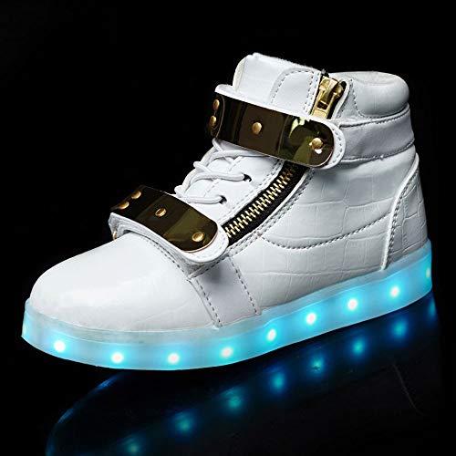 7 Farben LED Schuhe USB Aufladen Leuchtschuhe Licht Blinkschuhe Leuchtende Sport Light Up Turnschuhe ,Damen Herren Energy Lights Ausbilder ,High-Top Licht Blinkt Sneaker MitWhite-39