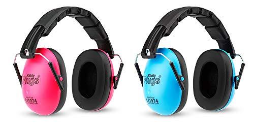 KiddyPlugs Kinder Kapsel Gehörschutz Doppelpack PINK BLAU, Lärmschutz Kopfhörer Kinder, faltbar, größenverstellbar, weich gepolstert - Kinder, Jugendliche, Erwachsene