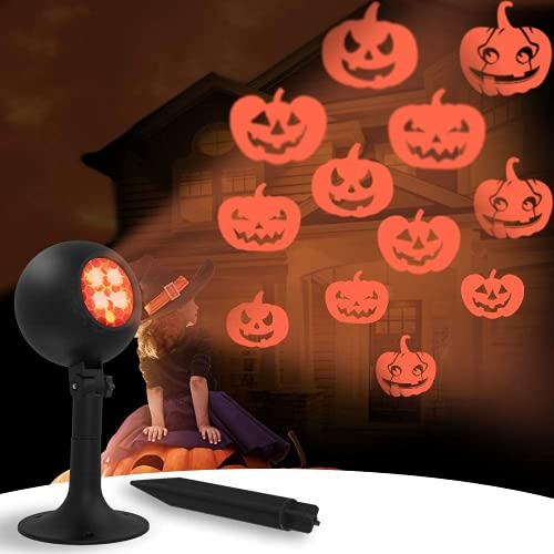 Halloween Lights Pumpkin Projector Light Holiday Decoration Light Show for Outdoor Waterproof Spotlight Landscape Lamp for House Yard Party