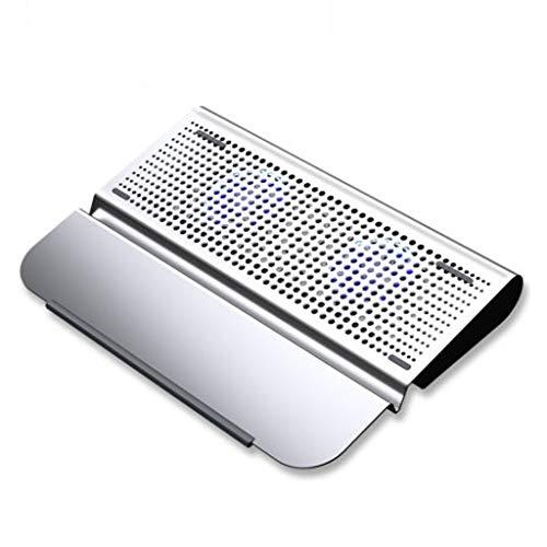 Laptop Cooling Pad Laptop Cooler Cooling Pad 10'-15.6' Laptop Cooling pad Ultra Slim Portable 2 Quiet Big Fans 1300RPM with USB Line Built Laptop Cooler (Color : Chrome)