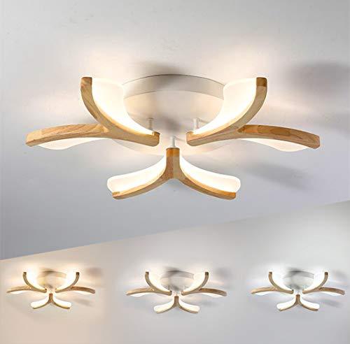 LED Deckenleuchte Holz Dimmbar Kinderzimmerlampe 30W im Modern Wohnzimmer Deckenlampe Blume-Shape Leuchte Schlafzimmerlampe mit Fernbedienung Decken Licht Esszimmer Schlafzimmer Kinder Flur Lampen