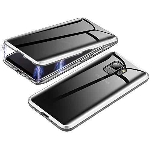 Jonwelsy Anti-Spy Cover per Samsung Galaxy S9, 360 Gradi Protezione Case, Privacy Vetro Temperato Anti Peep Custodia, Adsorbimento Magnetico Bumper Metallo Frame per Samsung Galaxy S9 (Argento)