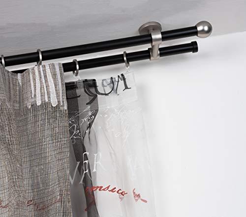 InCasa Barra Doble para Cortina, 20 mm. de diámetro, 400 cm. de Longitud, en Acero cepilado Nero – Completo, sin Anillas