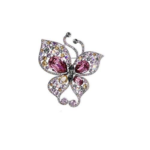 Broche de Mariposa de Cristal for los Vestidos Elegantes de Las Mujeres Banquet Wedding Pin Accessories 6 * 5.3cm (Color : Pink)