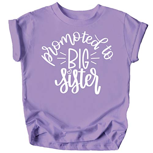 Olive Loves Apple Promoted to Big Sister Colorful Announcement T-Shirt for Baby and Toddler Girls Sibling Outfits Purple Shirt