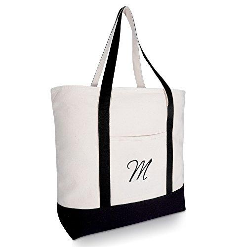 DALIX Personalized Tote Bag Monogram Black - M