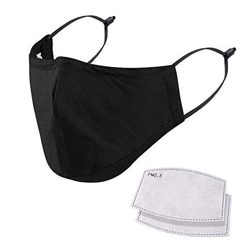 NUÜR - Maschera per il viso riutilizzabile a 5 strati, lavabile, resistente, con clip per il naso inserita, maschera di protezione per uso quotidiano, colore: nero