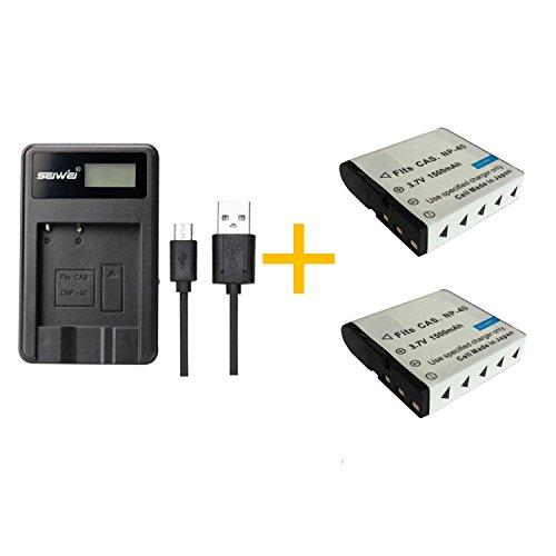 2 pz 1500 mAh NP-40 NP40 Batteria con caricabatterie singolo Caricabatterie per fotocamere Casio 55 57 Z100 Z300 Z400 Z450 FC100
