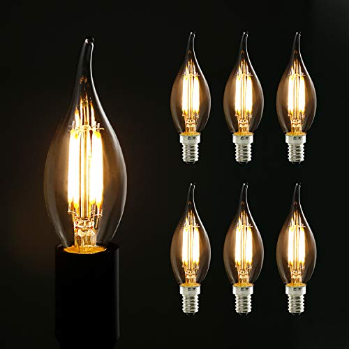 6X Edison Glühbirne E14, GBLY LED Retro Kerze Glühlampe, Dekorative Kerzenbirne, C35L Warmweiß 4W Antike Kerzenlampe für Nostalgie und Retro Beleuchtung im Haus Café Bar Restaurant, Nicht Dimmbar