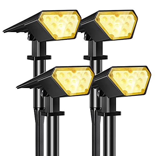 Kefflum Foco solar inalámbrico, 4 x 12 LED, iluminación solar 2 en 1, lámpara de suelo, lámpara de pared ajustable, IP65, para jardines, paisajes exteriores, terrazas, color blanco cálido