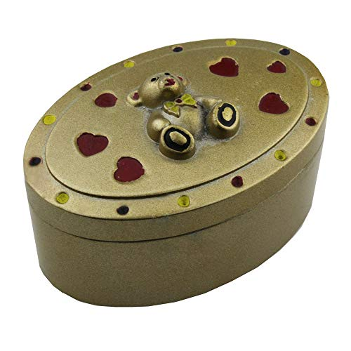 GonFan Caja de la joyería de la Vendimia Aleación de Zinc joyería Oso Lindo Joyas Retro Caja de Metal Popular Europeo Caja ambientalmente Material Respetuoso (Color : Bronze, Size : 9x6x5cm)