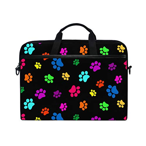 MAHU Laptop Sleeve Case Bag Colorful Animal Dog Paw Print Computer Messenger Bag 14-14.5 inch Travel Briefcase with Shoulder Strap Handle for Women Men Boys Girls