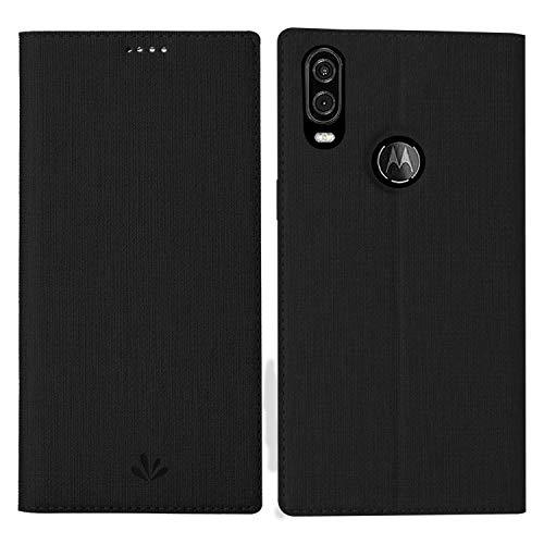 Simicoo Motorola One Vision Flip Leder Tasche Handyhülle Case Standfunktion Kartenfach Magnetverschluß Card Holder Silikon Stoßstange Brieftasche Wallet Schutzhülle für Moto One Vision (Black)