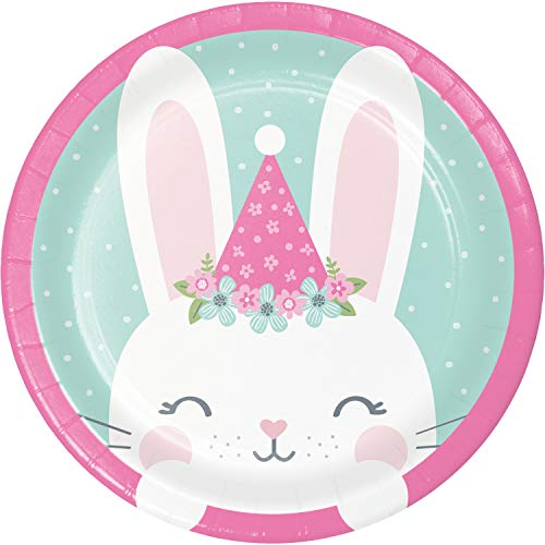 Creative Party PC336051 Party Pink Birthday Bunny Paper Lunch Plates-8 Pcs