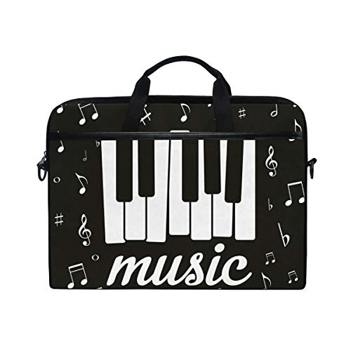 Ahomy 14-14,5 Zoll Laptoptasche, Musiknote Klavier Leinwand Stoff Laptop Tasche Business Handtasche mit Schultergurt für Damen und Herren