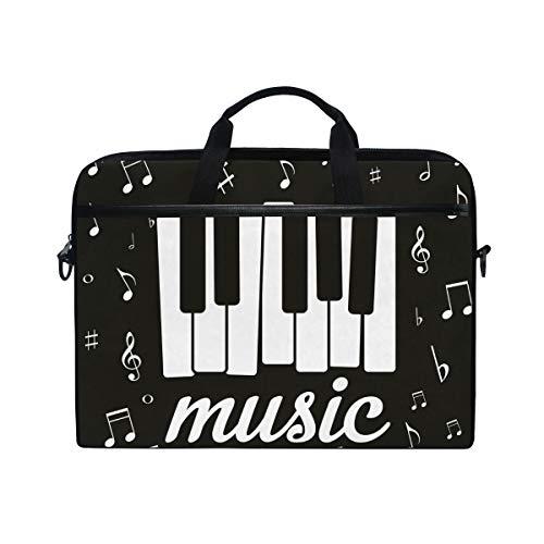 Ahomy 35,6 - 36,8 cm Laptoptasche, Musiknote, Klavier, Canvas, Laptoptasche mit Schultergurt für Damen und Herren