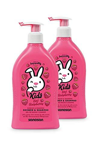 sanosan 2in1 Dusche & Shampoo Himbeere für Kinder - Duschgel & Haarshampoo mit Bio Olivenextrakt & Milchprotein im 2er Pack (2x 400 ml) - Haarpflege, Hautpflege, Shower Gel, Haar Shampoo