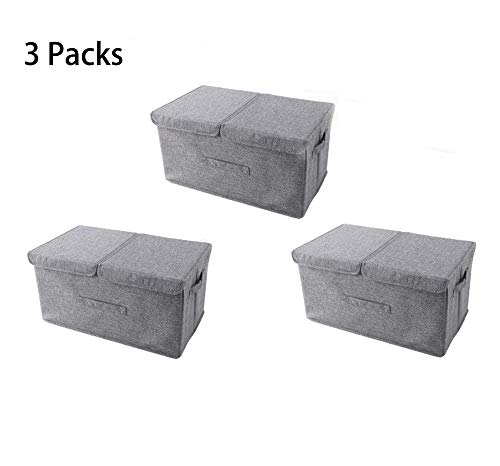 Große Doppeldeckel-Aufbewahrungsbox, Kleider-Aufbewahrungsbox, faltbare und waschbare Aufbewahrungsbox,Grau,3packs
