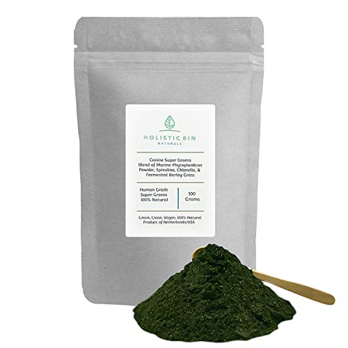 Canine Super Greens by Holistic Bin - Human Grade Blend of Marine Phytoplankton Powder  Spirulina  Chlorella  & Fermented Barley Grass