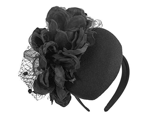 Fillies Collection Black Pillbox with Large Flower by