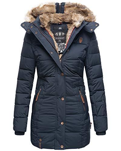 MARIKOO Damen Winter Jacke Stepp Jacke Kunst-Fellkragen Warm gefüttert NKO167 (Large, Navy Lang)