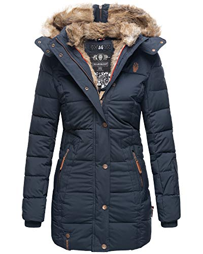Marikoo Damen Winter Jacke Stepp Parka Mantel Kunstfell warm gefüttert Nekoo XS-XXL (S, Navy in Lang)