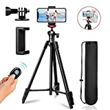 "ZoMei Phone Tripod, 57"" Adjustable Travel Tripod for iPhone/Android, Aluminum Lightweight Cell Phone Tripod with Wireless Remote and Universal Clip for GoPro Smartphone(2020 Upgreaded Version)"