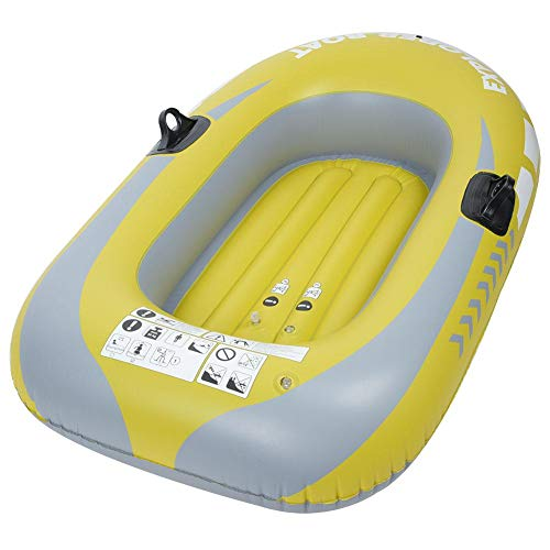 Purchase Heitamy Inflatable Boat, Single Person Heavy Duty Inflatable Boat One Person Rowing Air Boat Fishing Drifting Diving Tool for Surfing Traveling Yellow
