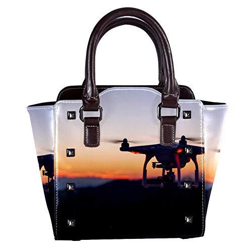 Umhängetasche mit Griff oben, Schultertasche für Damen, Leder, Umhängetasche mit Drohne, Sonnenuntergang, Abend-Muster, Tragetasche, Handtasche