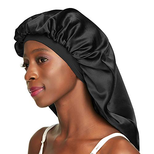 Satin Lined Sleep Cap Black Oversize Bonnet for Braids