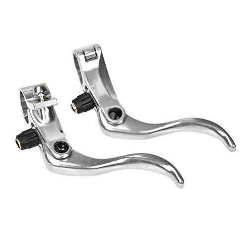 Fahrrad Bremshebel Links/rechts Handbremshebel, 1 Paar Aluminiumlegierung BMX MTB Straße Mountainbike Scheibenbremse Bar Griff Ebene Schwarz Silber(Silber)