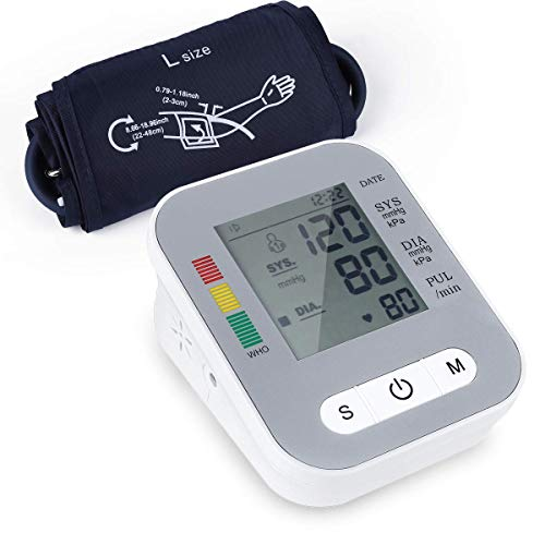 Blood Pressure Monitor, Automatic Accurate Upper Arm Digital Bp Machine with 22-42cm Cuff, Accurate Readings for Pulse Rate Monitoring Meter 2x120 Memory Hypertension Home Detector