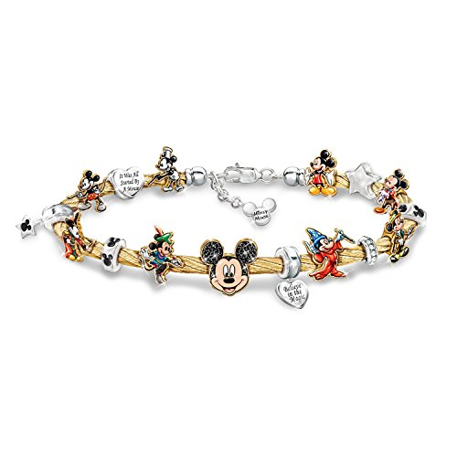 Bradford Exchange Disney Mickey Mouse's Greatest Moments Women's Cable Charm Bracelet by The