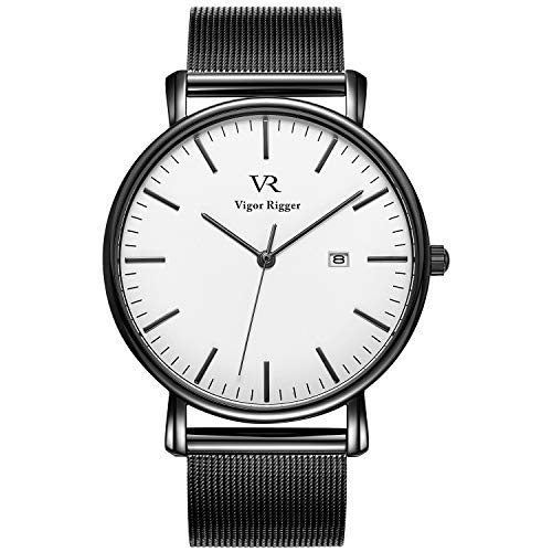 Vigor Rigger Unisex Uhren Ultra dünne Klassische Quarz Armbanduhr Analoges-dial mit Datumsfenster Echtes Edelstahlband