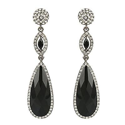 EVER FAITH Rhinestone Crystal Wedding Graceful Tear Drop Pierced Dangle Earrings Black Black-Tone