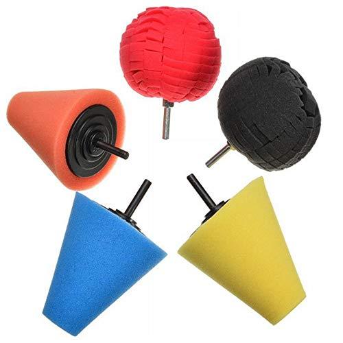 MAATCHH Polishing Pad 5-piece Set Of Car Wheel Hub Polishing Sponge Ball Cone Sponge Pad Spherical Wheel Car Cleaning Tool Used for car Polishing,Sanding and Waxing (Color : A, Size : One size)