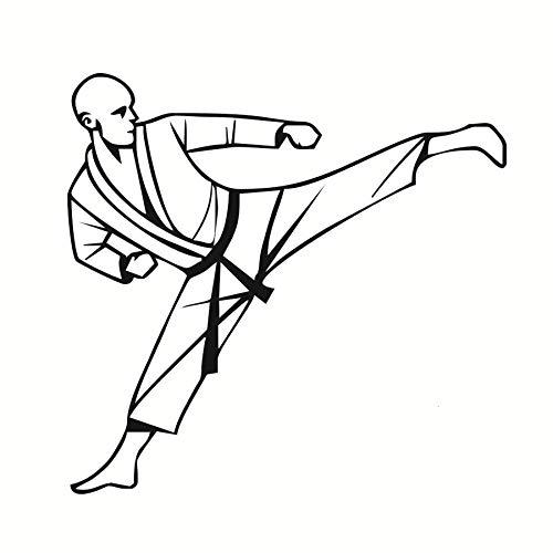 44x42 cm Wandkunst, Gym Karate Mann Porträt Wohnheim Junge Hängen Bilder Abnehmbare Diy Living Home Wand Vinyl Druck Aufkleber Moderne Kinderzimmer Poster Aufkleber