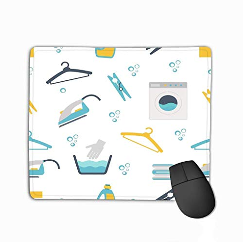Family Mouse Pad,Standaardformaat Anti-lip Rubber Mousepad Wasserij Thema Wasmachines Kleren pinnen Hangers