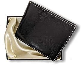 MUFUBU Presents Tesoro Italy Genuine Leather Matt Black Men's Wallet RFID Protected (Gift for Men)