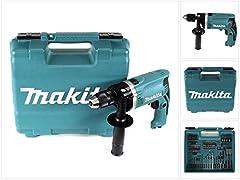 Makita slagborr i resväska, 710 W inklusive 74 tillbehör till delar, HP1631KX3