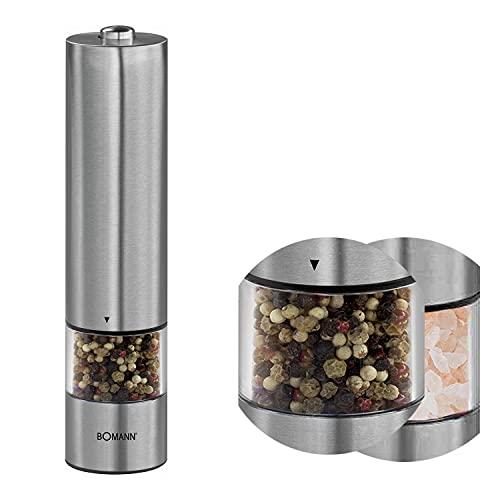 Pfeffermühle Elektrische Edelstahl-Gehäuse mit Licht Salzmühle Elektrisch Groß Einfaches Nachfüllen (Keramikmahlwerk, Batteriebetrieben, Einhandbedienung)