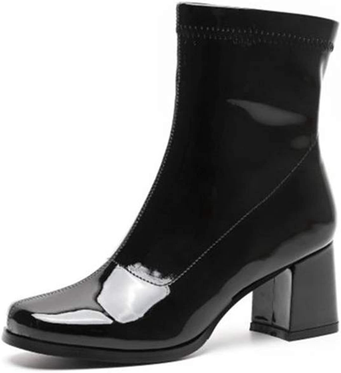 18d0312158f79 Ankle Boots Women Round Toe Chunky Heels High Cut Zip-Up Mid Calf ...