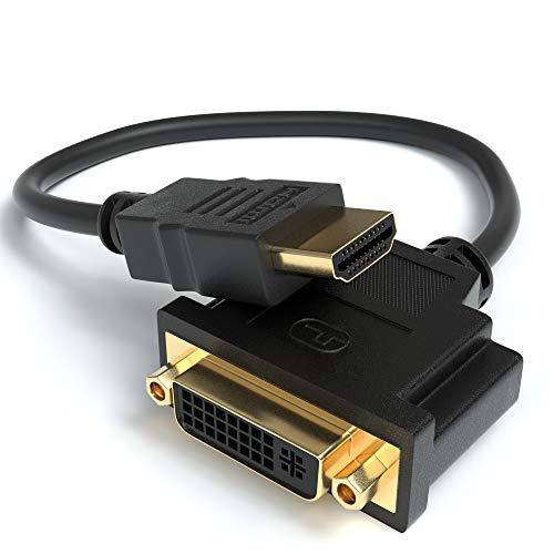 JAMEGA – HDMI auf DVI Adapter | HDMI Stecker zu DVI Buchse 24+5 DVI auf HDMI Kabel Konverter Adapterkabel | 4K High Speed HDTV bis zu 1080P Full HD vergoldete Kontakte für TV, Beamer, PC UVM.