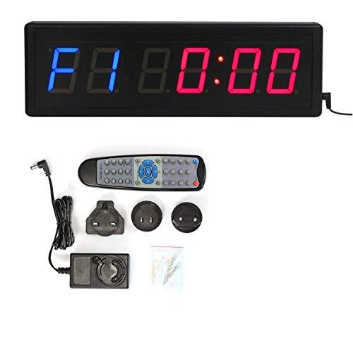 Dígitos LED cuenta atrás intervalo de gimnasio y fitness incluye mando a distancia temporizador cronómetro reloj de pared para clubes deportivos escuelas Tabata 12/24 horas reloj en tiempo real