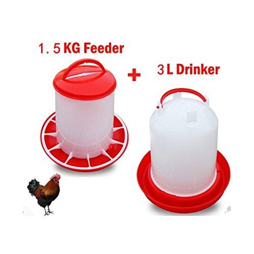 Juego de artículos para aves, bebedero para pollos de 3 l y comedero de pájaros 1,5kg