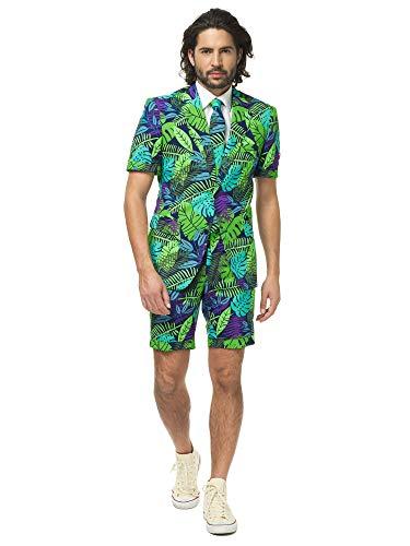 Opposuits Flaminguy Anzug für Herren besteht aus Sakko, Hose und Krawatte, Juicy Jungle, Grün, 58